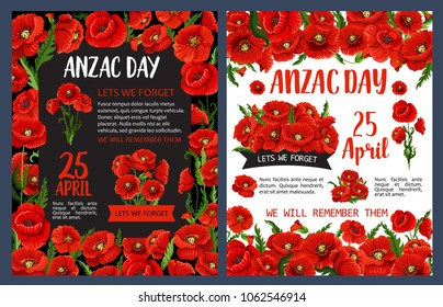 Anzac Remembrance Day poster for Australian and New Zealand national memorial anniversary of war soldier. Red poppy flower with black ribbon banner and Lest We Forget message for banner design