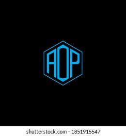 AOP letter icon design on black background. Creative letter AOP/A O P logo design. AOP initials Logo design