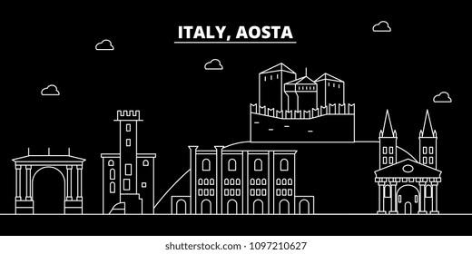 Aosta silhouette skyline. Italy - Aosta vector city, italian linear architecture, buildings. Aosta travel illustration, outline landmarks. Italy flat icons, italian line banner