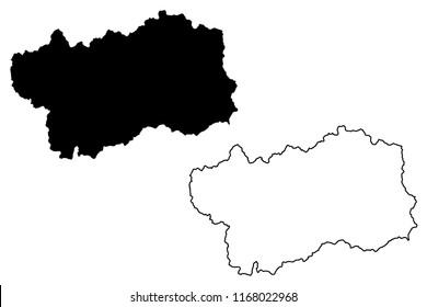 Aosta Valley (Autonomous region of Italy) map vector illustration, scribble sketch Aosta Valley map
