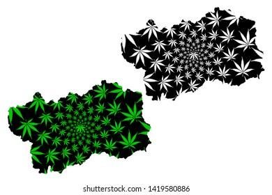 Aosta Valley (Autonomous region of Italy, Italian Republic) map is designed cannabis leaf green and black, Aosta Valley map made of marijuana (marihuana,THC) foliage,