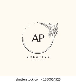 AP Beauty vector initial logo art, handwriting logo of initial signature, wedding, fashion, jewerly, boutique, floral and botanical with creative template for any company or business.