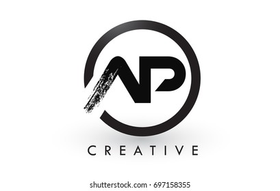 AP Brush Letter Logo Design with Black Circle. Creative Brushed Letters Icon Logo.