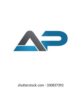 AP company linked letter logo blue