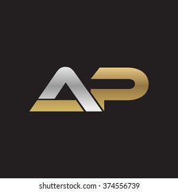 AP company linked letter logo golden silver black background