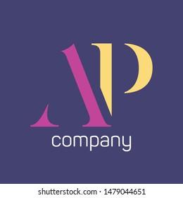 AP company logo design. Monogram letters A nd P.