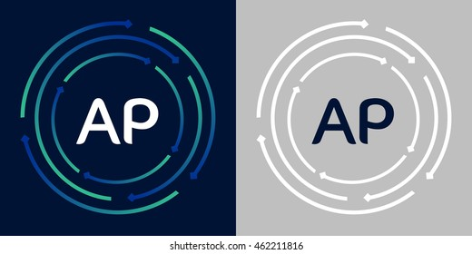 AP design template elements in abstract background logo, design identity in circle, letters business logo icon, blue/green alphabet letters, simplicity graphics