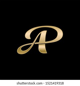 AP gold monogram logo. Vector