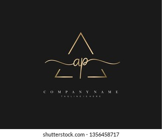AP initial handwriting logo template vector