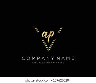 AP Initial handwriting logo template vector.