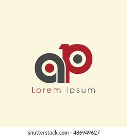 ap initial letter linked lowercase logo. a and p vector template design.