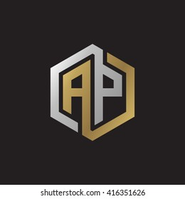 AP initial letters loop linked hexagon elegant logo golden silver black background