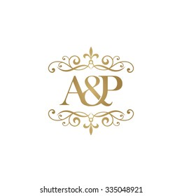 A&P Initial logo. Ornament ampersand monogram logo gold