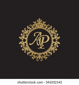 AP initial luxury ornament monogram logo