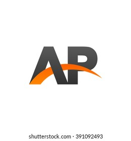 AP initial overlapping swoosh letter logo black orange