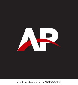 AP initial overlapping swoosh letter logo white red black background