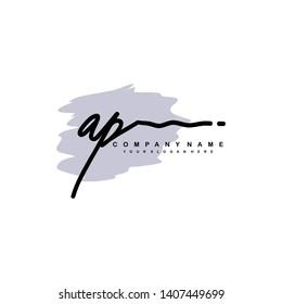 AP initial signature logo. handwriting logo template vector,