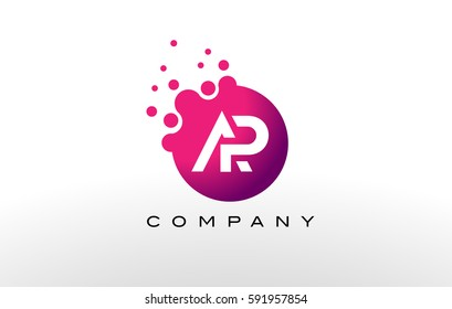 AP Letter Dots Logo Design with Creative Trendy Bubbles and Purple Magenta Colors.