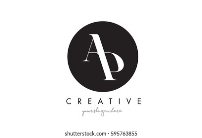 AP Letter Logo Design with Black Circle and Serif Font Vector Illustration.