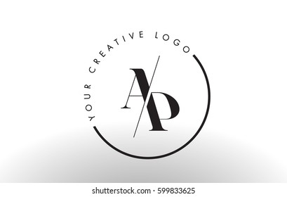 AP Letter Logo Design with Creative Intersected and Cutted Serif Font.