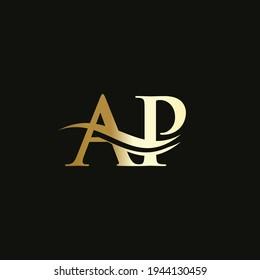 AP letter logo design. Premium Letter AP Logo Design with water wave concept