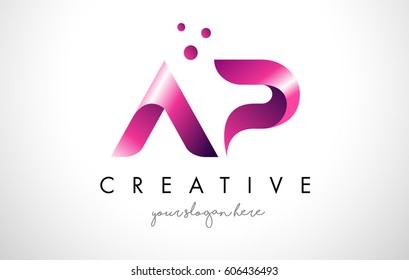 AP Letter Logo Design Template with Purple Colors and Dots