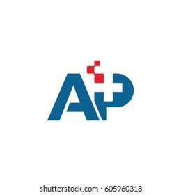 AP letter, pharmacy initial logo design