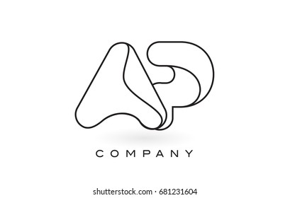 AP Monogram Letter Logo With Thin Black Monogram Outline Contour. Modern Trendy Letter Design Vector Illustration.