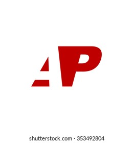AP negative space letter logo red