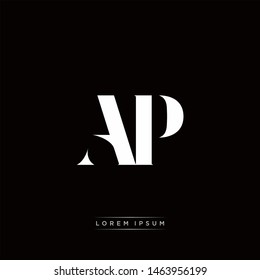 AP A P Logo Monogram with Black and White Colors