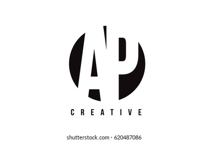 AP A P White Letter Logo Design with Circle Background Vector Illustration Template.