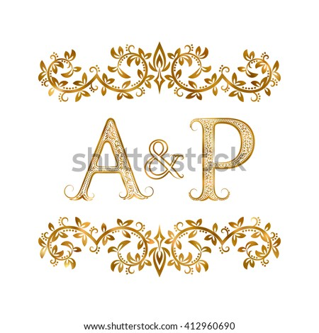 Ap Vintage Initials Logo Symbol Letters Stock Vector Royalty Free