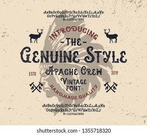 """""""Apache Crew"""". Retro Font. Indian Style.  Vintage Handcrafted Typeface. Clean & Textured Versions Included. Vector Illustration."""