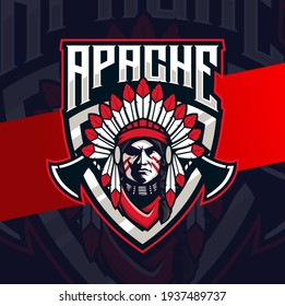 Apache indian chief mascot esport logo design character for gaming and sport logo
