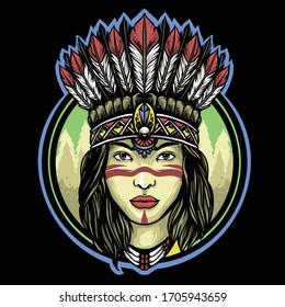 apache indian girl  logo mascot design vector