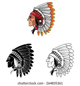 Apaches Mascot set collection tattoo.Vector illustration on white background