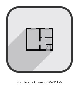 Apartman plan - black vector icon  with long shadow