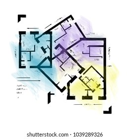 Apartment architectural plan sketch