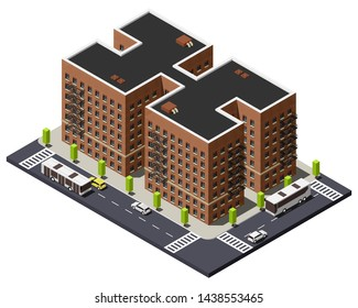Apartment brick building with fire escape in Bronx isometric vector illustration. Borough of New York City.