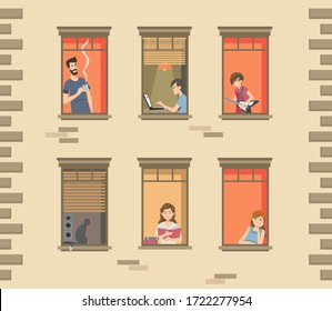 Apartment building facade with neighbor people and cats in open windows. Men and women drinking coffee, reading, talking. Vector illustration for staying at home, quarantine, communication concept