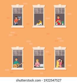 Wohngebäude Fassade mit Nachbarn in offenen Fenstern. Vektorgrafik.