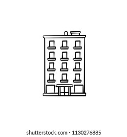 Apartment building hand drawn outline doodle icon. Real estate listing, finance and investment concept vector sketch illustration for print, web, mobile and infographics on white background.