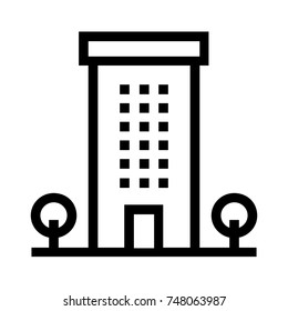 Apartment building line vector icon with trees. Flat sign and symbol for real estate property. Simple linear style illustration isolated on white background.