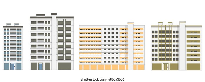 Apartment Buildings Exterior. Vector Illustration. Isolated on White Background