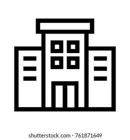 Apartment complex flat line icon. Condominium real estate property linear vector illustration. Office building concept. Isolated on white background.