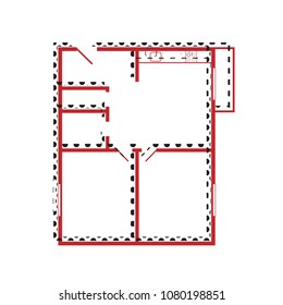 Apartment house floor plans. Vector. Brown icon with shifted black circle pattern as duplicate at white background. Isolated.