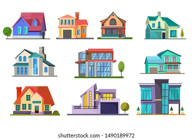 Apartment house set. Building, cottage, villa. Architecture concept. Vector illustrations can be used for topics like real estate, facade, residence, neighborhood
