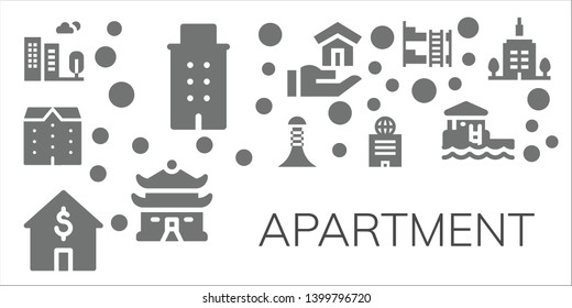 apartment icon set. 11 filled apartment icons.  Collection Of - Building, Apartments, House, Bunk bed, Bungalow, Skyscrapper