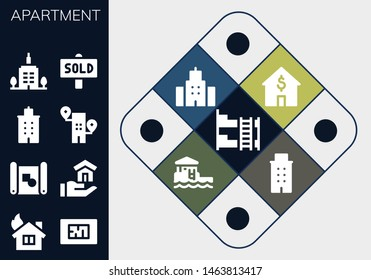 apartment icon set. 13 filled apartment icons.  Collection Of - Bunk bed, House, Blueprint, Building, Skyscrapper, Sold, Bungalow