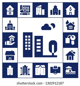 apartment icon set. 17 filled apartment icons.  Simple modern icons about  - House, Skyscrapper, Building, Hotel key, Blueprint, Apartments, Area, Bungalow